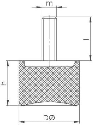 M6 x 18, 20 x 23,5 varios tama/ños tipo DS Pie de goma para m/áquina con ventosa tope de tope elemento de metal de goma con perno roscado unilateral
