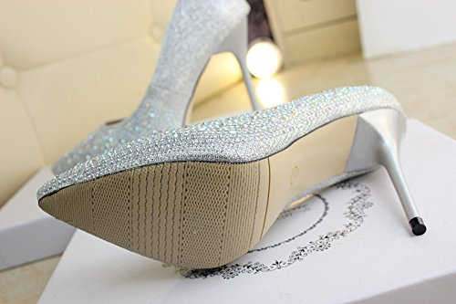 34 Rhinestones Lady Match Shoes 11Cm Silver Spring High MDRW Heeled Wedding Shoes Pointed With Shoes Fine Work Leisure Elegant All Shoes FnUaYqR