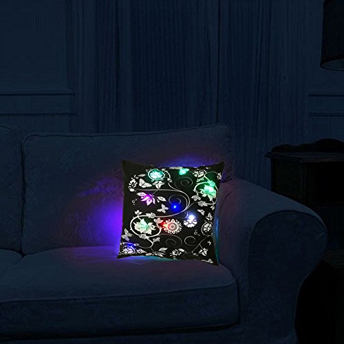 Light Up Glow LED Innovations Cozy Mood Vivid Flowers and Butterflies Glowing LED Night Light Plush Cushion Cover Christmas Gift18 X 18 Inches - Cozy Glow Night Light