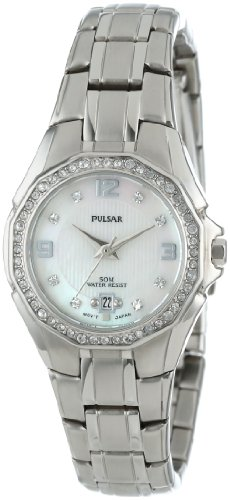 Pulsar Women's PXT797 Crystal Mother of Pearl Dial Watch