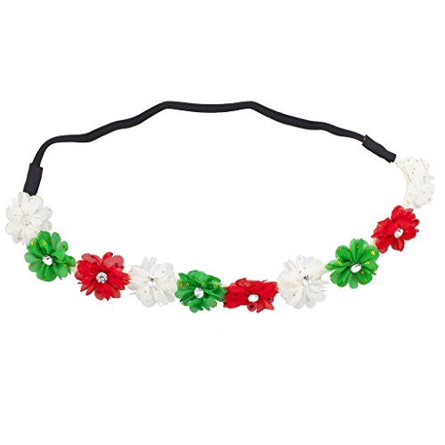 Without Losing Their Feminine Side A Cute And Sparkly Option Is The Lux Accessories Red Green White Christmas Holiday Floral Chiffon Headband