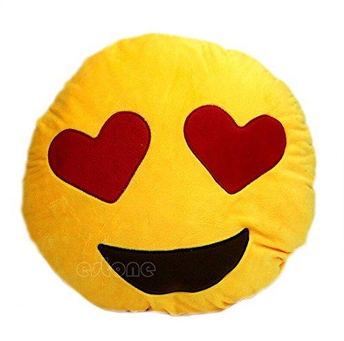 DAOKAI® Weiche Emoji Smileyemoticon Yellow Round Kissen-Kissen-Plüsch Spielzeug-Puppe Schöne