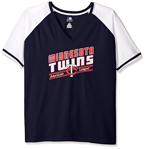 MLB Minnesota Twins Women's Team Short Sleeve Raglan T-Shirt with Arm Stripes, 2X, Navy/White – DiZiSports Store