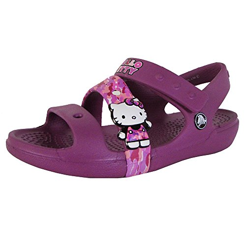 Crocs Girls Keeley Hello Kitty Camo Sandal Shoes, Viola, US 13 Little Kid -