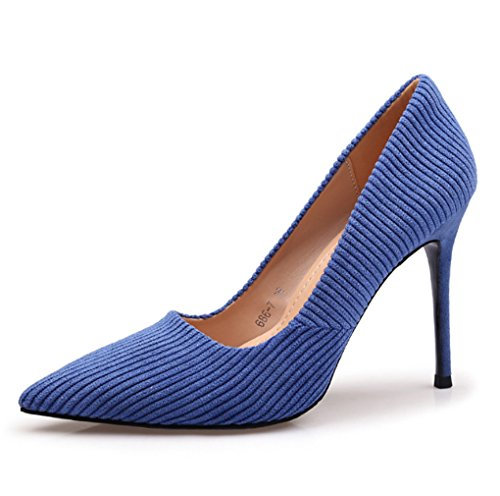 38 talon Printemps LBDX rayure et Bleu bouche chaussures Bleu Couleur simples mince haut taille été femelle Shallow IZgw4q