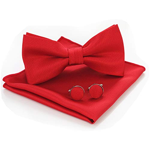 JEMYGINS Red Bow Tie Silk Bowtie and Pocket Square Hankerchief With Cufflinks Sets for Men(5)