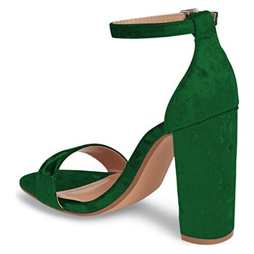 Fsj Donna Classico Sandalo Tacco Alto Open Toe Cinturino Alla Caviglia Fascia Singola Abito Scarpe Taglia 4-15 Us Verde Velluto