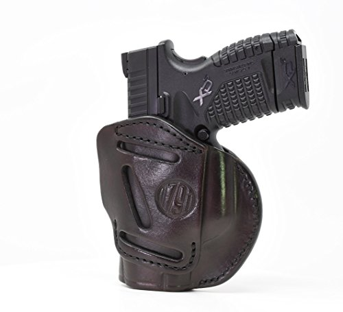 1791 GUNLEATHER 4-Way XDS Holster - OWB and IWB CCW Holster - Right Handed Leather Gun Holster - Fits Springfield XDS, S&W MP9 Shield, Ruger SR9c, LC9, SR40 and Walther PPS (Signature Brown Size 3)
