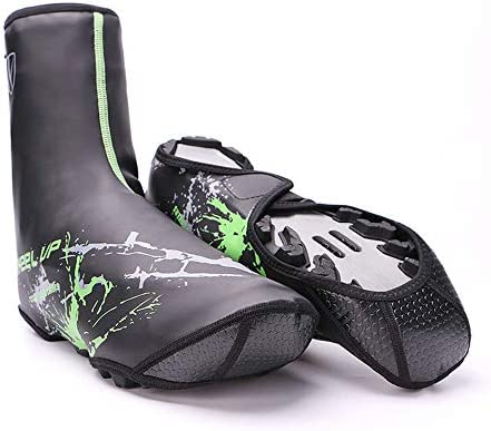 シューズカバー 防水 冬のサイクルオーバーシューズリフレクティブ防水高温保護靴カバー防風防水ロック靴のカバー 靴保護 梅雨対策 通勤通学 自転車用 (Color : Green)