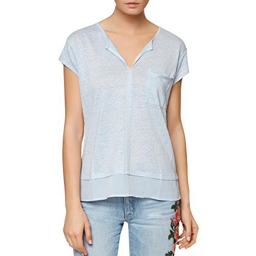Linen Pullover - Sanctuary Womens Linen Short Sleeves Pullover Top Blue XL