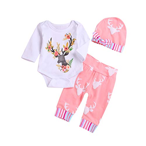 Newborn Girls Long Sleeve Deer Romper Tops Pink Pants Hat Outfits Set Onesies (White, 3-6Months) Baby Deer Long Sleeve Onesie