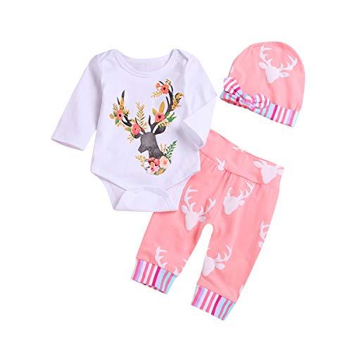 Newborn Girls Long Sleeve Deer Romper Tops Pink Pants Hat Outfits Set Onesies (White, 3-6Months)