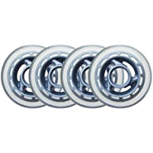 KSS Inline Skate 78A Wheels (4 Pack) with 3-Spoke hub, 80mm, Clear/Silver