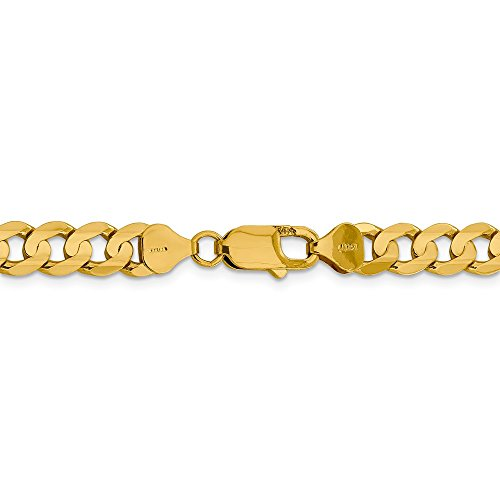 14k Figaro Anklet - 7.5 mm 14k Yellow Gold Concave Open Figaro Chain Ankle Bracelet - 9 Inch