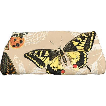 Simply Daisy 28'' x 58'' Antique Butterflies and Flowers Animal Print Bath Towel | Beige