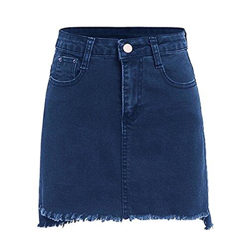 Erongeoneg Navy Mini Denim Skirt Frayed Hem Women A Line Skirts High Waist Plain Stretchable Skirt Blue XL