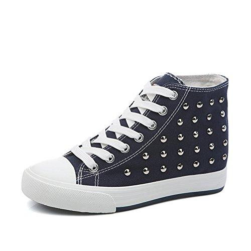zapatos de lona de mujeres/Otoño punk remache zapatos mujer alta/Mayor sigilo zapatos C