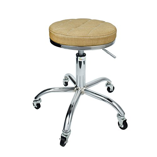 Geboor Leather Seat Shop Stool Adjustable Stainless Steel Stool with Wheels for Salon Spa Art Studio Office Yellow
