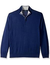 Nautica Men's Long Sleeve 1/4 Zip Solid Sweater with...