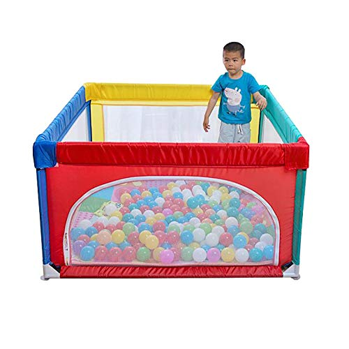Baby Game Playpen Safety Fence Household Indoor Baby Children Toddler Game Protection Fence Playground, 120×120cm (Color : Playpen+mat+100 Balls) (Games Playground 100)