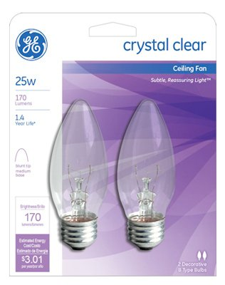 General electric 22756 2 count 25 watt torpedo ceiling fan light general electric 22756 2 count 25 watt torpedo ceiling fan light bulb clear aloadofball Choice Image