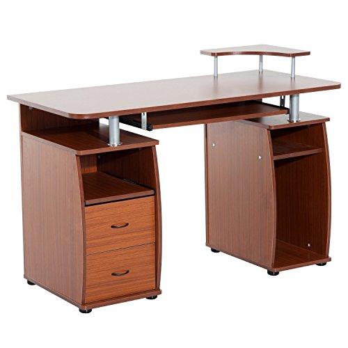 HOMCOM Mesa de Ordenador PC Oficina Despacho Dormitorio Hogar Escuela Escritorio Madera 120x55x85cm
