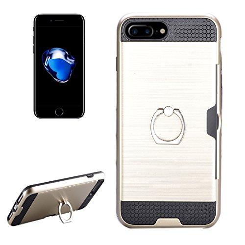 IPhone 7 Plus Case, Texture Metall Schutzmaßnahmen zurück Fall mit Ring Halter Stand und Card Slot CASE FÜR IPHONE 7 PLUS ( Color : Gold )