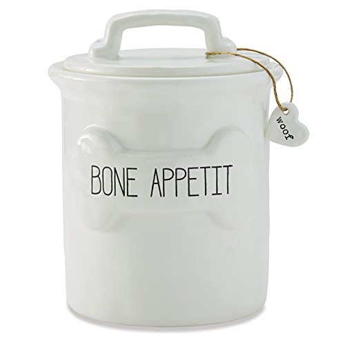 Dog Cannister - Mud Pie 40220013 Bone Appetit Ceramic Dog Treat Canister, One Size, White
