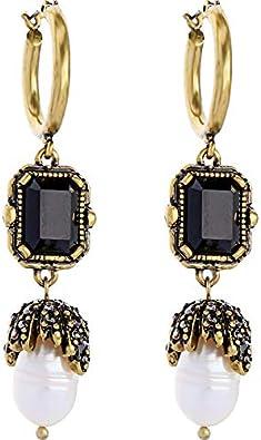 Pendientes de perlas de piedras preciosas de piedras preciosas negras de alta calidad temperamento de la moda europea y americana salvajes largos pendientes