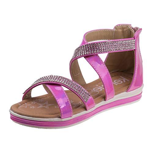 Kensie Girl Girls Metallic Rhinestone Double Strap Closed Heel Sandal, Pink, Size 4 M US Big Kid' from Kensie Girl