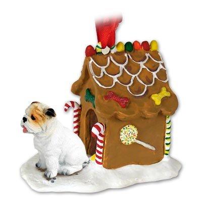 White Gingerbread Dog House Ornament - Bulldog Gingerbread House Ornament - White