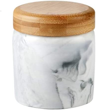 Marble Black Food Storage Canister, Ceramic Food Storage Jar with Airtight Seal Bamboo Lid - - Modern Design marble Ceramic Food Storage Canister for Serving Tea, Coffee, Spice and More 9.3OZ(275ML)