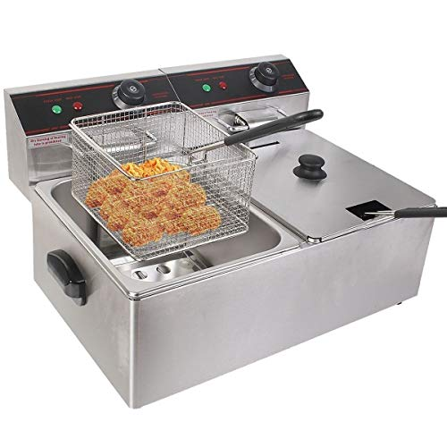 FonChef - 5000W 12 Liter Stainless Steel Electric Countertop Dual Deep Fryer - Home Restaurant Commercial ...