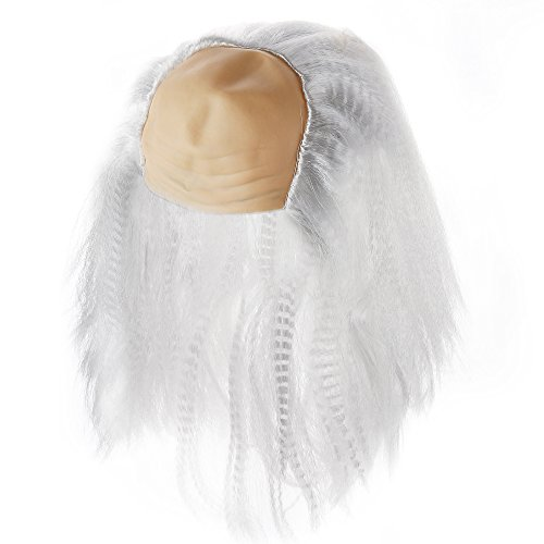 Bald Head Cap With White Hair Wig For Costume (Bald Head Color May Vary)