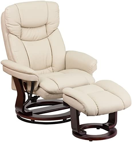 picture of Flash Furniture Recliner Chair - Ottoman | Beige LeatherSoft Swivel Recliner