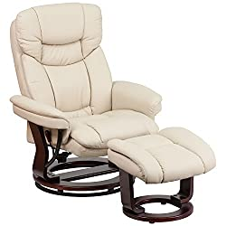 Artificial Leather TV Chair Swivel with Foot Stool Wooden Feet Black MCombo Recliner Tilt Swivel