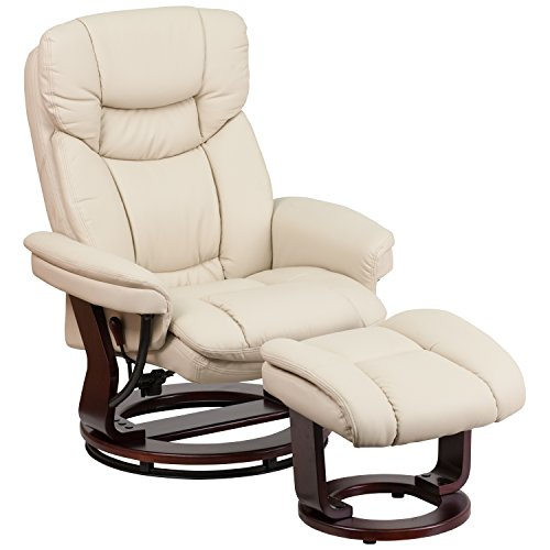 (Flash Furniture Contemporary Beige Leather Recliner and Ottoman with Swiveling Mahogany Wood Base)