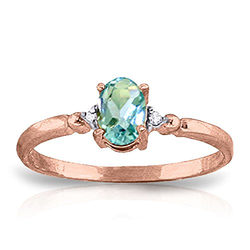 ALARRI 0.46 Carat 14K Solid Rose Gold Young Love Blue Topaz Ring With Ring Size 9 by ALARRI (Image #1)