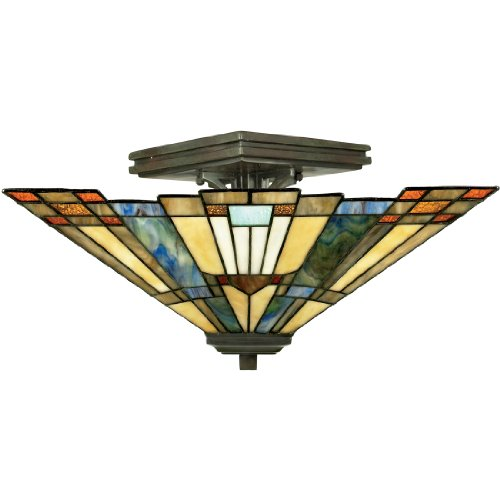 Quoizel Stained Glass Pendant - Quoizel TFIK1714VA Inglenook Tiffany Semi-Flush Ceiling Lighting, 2-Light, 120 Watts, Valiant Bronze (8