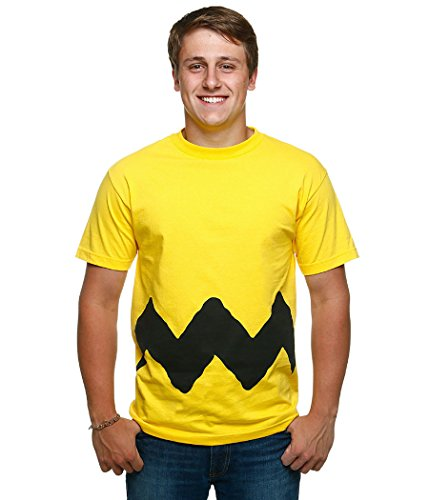 Adult Charlie Brown Costumes (Peanuts I Am Charlie Brown Costume T-Shirt-Small)