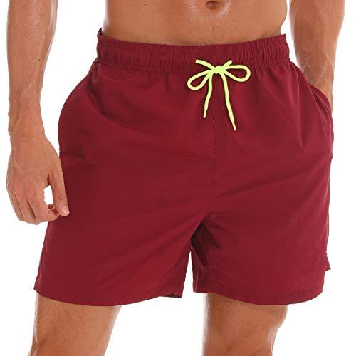 Large Firebrick - SILKWORLD Men's Swim Trunks Quick Dry Beach Shorts with Pockets (US S (Fits Waist 30.5