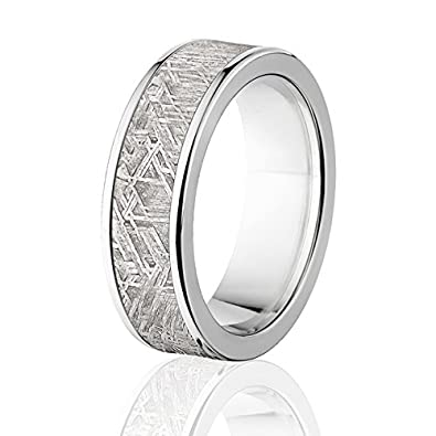 johan bone collections bands gibeon tungsten ring meteor with fossil band meteorite jewelry rings dinosaur by wedding