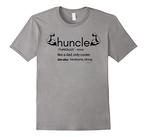 Mens Mens Body Builder Huncle Definition Funny Gift for Uncle 2XL Slate -