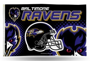 NFL Baltimore Ravens 3-Foot by 5-Foot Single Sided Banner Flag with -