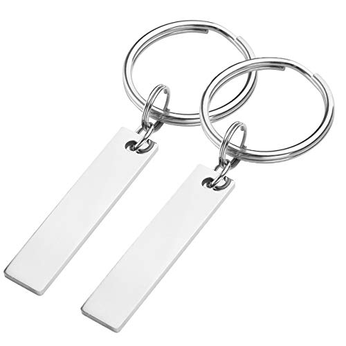 Free Engraving - Personalized Customize 2PCS/Set Stainless Steel Rectangle Pendant Keychain Key Ring His and Hers Valentines Gift for Lover Couples