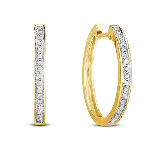 (NATALIA DRAKE Sterling Silver 1/10ctw Diamond Hoop -Gifts for Women (Yellow))