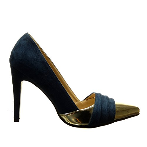 Angkorly - damen Schuhe Pumpe - Stiletto - Sexy - bi-Material - golden Stiletto high heel 10 CM - Blau