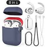 AhaStyle 8 in 1 Accessories Set-[Ultra Thin Silicone Case] [Ear Hooks Cover][Anti-Lost Strap,Caribiner,Silicone Lanyard and Pouch] Compatible with Apple AirPods (Navy Blue/Red)
