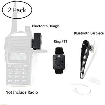 TWAYRDIO 2 Pin Wireless Two Way Radio Earpiece Bluetooth Walkie Talkie Headset with PTT for Kenwood/Baofeng BF-888s/Puxing Wouxun(2 Pack)