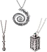 Doctor Who 4 Pack Different Necklace Wibbly Wobbly Timey Wimey Pendant 11th Doctor Sonic Screwdriver Pewter Fi
